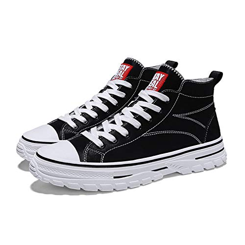 QZJDH Mens Casual Shoes High Top Sneaker Breathable Athletic Running Boots(8 M US,Black)