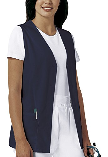 CHEROKEE Professional Solids Button Front Vest, 1602, L, Navy