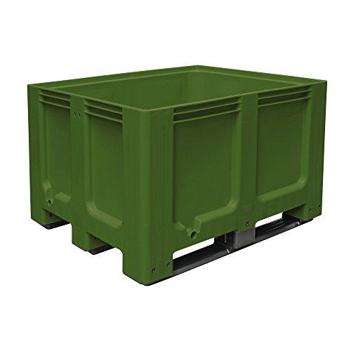 Grote box met 3 glijders, LxBxH 1200 x 1000 x 760 mm, gesloten, groen, PE-HD, geschikt voor levensmiddelen