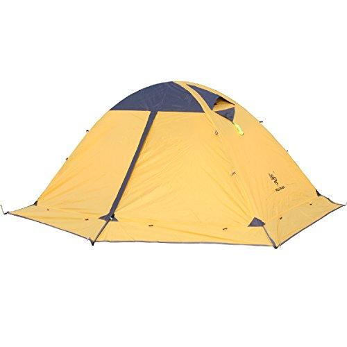 TRIWONDER Tienda de mochilero de 2 Personas Que acampa de la estación 4 con Las Puertas Dobles del Borde de la Falda Capa Doble Impermeable Ligera para Acampar yendo de excursión (Amarillo)