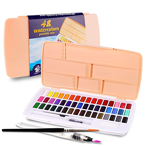 TBC The Best Crafts Watercolor Paint Set 48 Water color Palette with Water Color Brush Hook Pen Portable Art Painting Supplies Ideal Painting Gift for Kids Beginners Artist