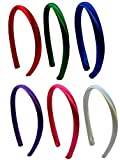 Set of 6 Satin Arch 18 INCH Doll Headbands for DIY and Matching Dolly and Me Outfits (Multi-Brights)