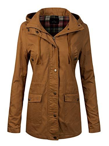 Design by Olivia Women's Anorak Safari Hoodie Jacket up to Plus Size Camel M