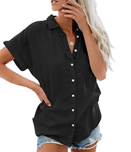 Lantch Damen Bluse Shirt Sommer Hemdbluse Kurzarm Hemd Tops Frauen Oberteile T-Shirt (A-Schwarz, M)