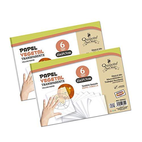 Quijote Paper World Pack 2 Blocs de Papel Vegetal Transparente, 12 Hojas,...
