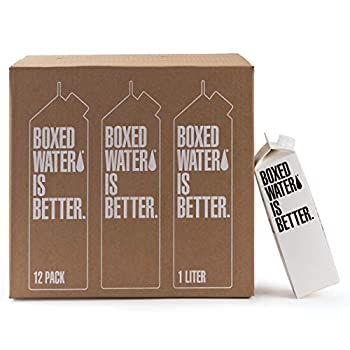 Boxed Water 33.8 oz  12 Pack  – Purified Drinking Water in 92% Plant-Based Boxes 100% Recyclable BPA-Free Refillable 1 Liter Water Cartons – Sustainable Alternative to Plastic Bottled Water