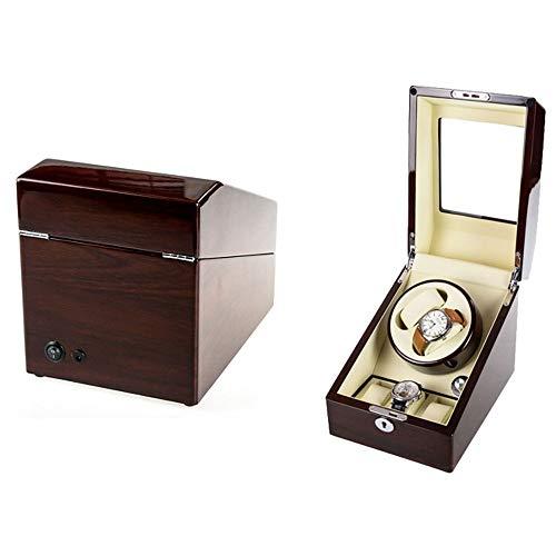 Caja Giratoria para Relojes 2 + 3 Rectangle Mute Automático Doble Watch Winder with Lock Caja de Almacenamiento de Reloj