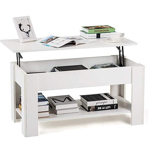H-CAR Mesa auxiliar blanca elevable, mesa de centro con almacenamiento y estante para el sofá, mesa moderna para sala de estar, oficina, dormitorio, muebles