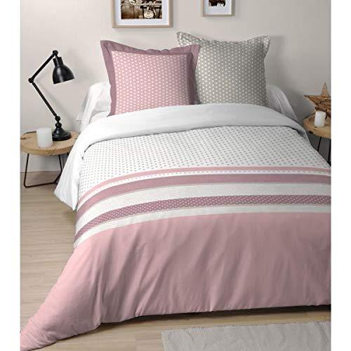 Housse de Couette Blush Girly, Rose/Blanc, 240x260cm, 2 Personnes, 100% Coton
