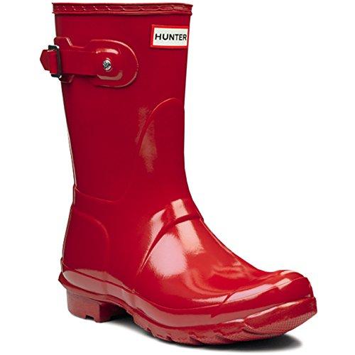 Damen Hunter Original Short Gloss Schnee Regen Gummistiefel Stiefel - Militär Rot - 40/41