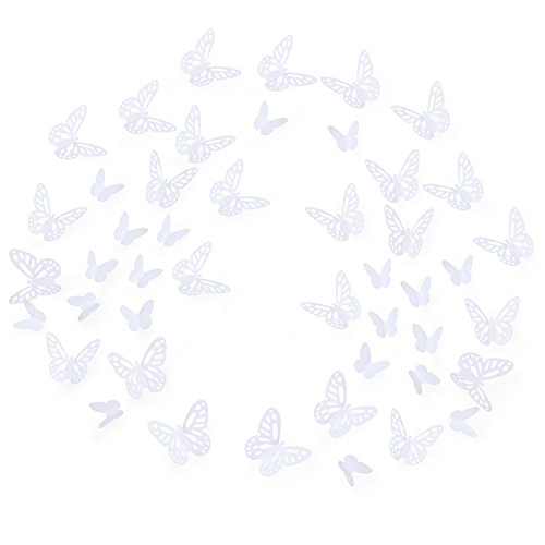 Luxbon 100pcs 3D Decorative Butterfly Wall Stickers 2 Sizes DIY Mural Decals Paper Autumn Table Confetti Art Crafts Home Decors(White)