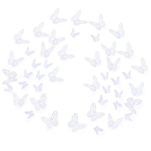 Luxbon 100 Stück 3D Schmetterling Wandtattoo Abziehbilder mit Klebepunkten Baby Schlafzimmer Deko Weiß