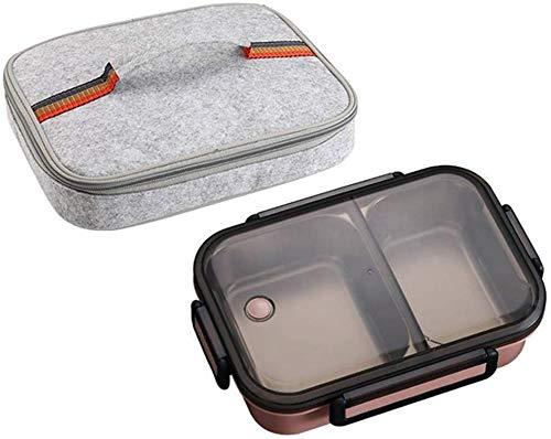 Pkfinrd Lunch Box304 roestvrij staal Bento doos met compartimenten kinderen school witte kraag voedsel container lekvrij voedsel doos een roze tas Set