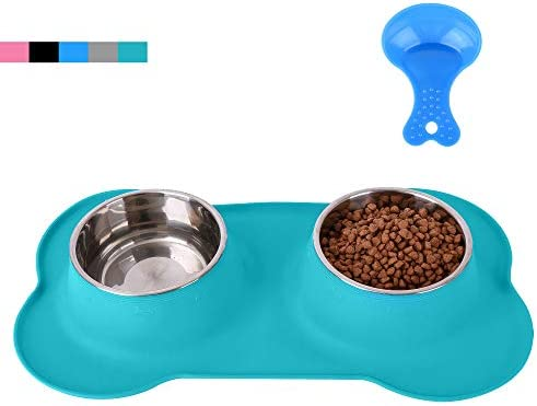 Hubulk Pet Dog Bowls 2 Stainless Steel Dog Bowl with No Spill Non Skid Silicone Mat Pet Food product image
