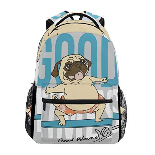 DXG1 Mochila de perro de carlino para mujer, hombre, adolescente, chico, bolso escolar, bolso de libros, casual, suministros para el día, gran capacidad, 40,5 x 29 x 20 cm