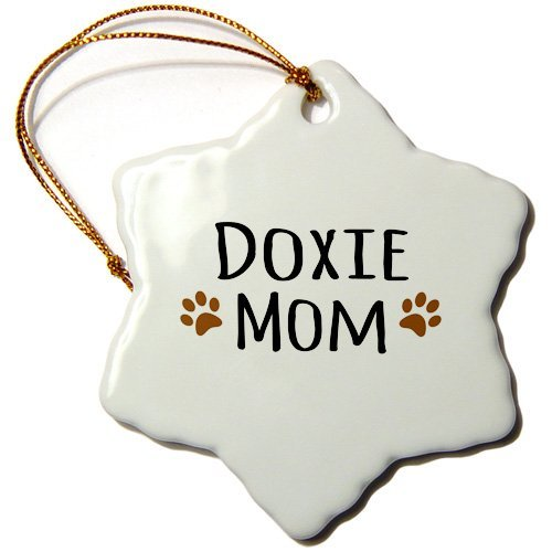 Weihnachtsdekoration Doxie Hund Mama Dackel Hund von Breed Brown Muddy Pfotenabdrücke Keramik Schneeflocke Ornament Weihnachtsgeschenkideen