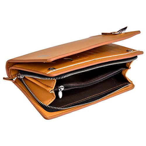 Elios Men and Women's Synthetic Long Zipper Phone Wallet and Card Organizer (Tan Brown)
