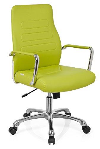 hjh OFFICE 720009 Chefsessel TEWA Kunstleder Grün/Chrom moderner Bürostuhl, niedrige Rückenlehne ergonomisch