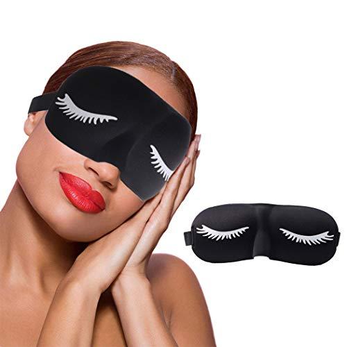 IYOU Wimpern Muster Auge Maske 3D Konturiert Schwarz Auge Abdeckung Komfort Block aus Licht Schlaf Auge Masken Reise Yoga Nickerchen Auge Startseite zum Frauen und Männer