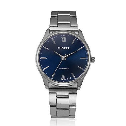 TLZR Herren Quarzuhr, Retro-Design MIGEER Analog Alloy Quarz-Armbanduhr Ausverkauf Günstige Uhren mit rundem Zifferblatt Alloy Case Komfortables Stahlband B