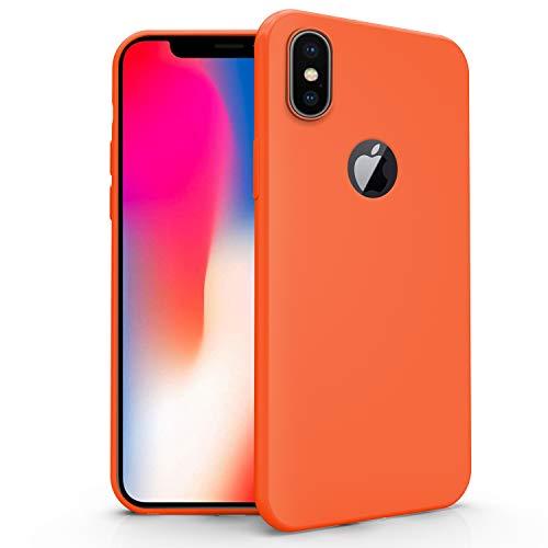 N NEWTOP Cover Compatibile per Apple iPhone X, Custodia TPU Soft Gel Silicone Ultra Slim Sottile Flessibile Case Posteriore Protettiva (Arancione)