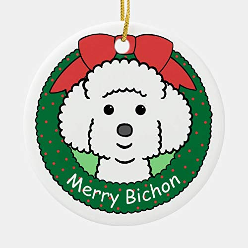WorldOfLove Christmas Ornament, Bichon Frise Ornament, Keepsake Gift, Xmas Tree Hanging Decoration for Family Christmas Holiday