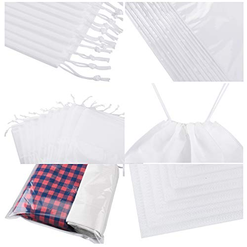 SATINIOR 12 Pieces Travel Shoe Storage Bag Non-Woven Storage Bag Portable Shoes Pouch with Transparent Window for Men Women (White, 14.2 x 10.6 inch)