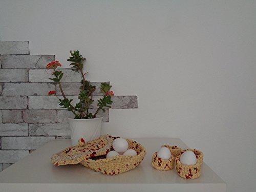 Körbchen Upcycling Utensilo Eierbecher Handmade gehäkelt
