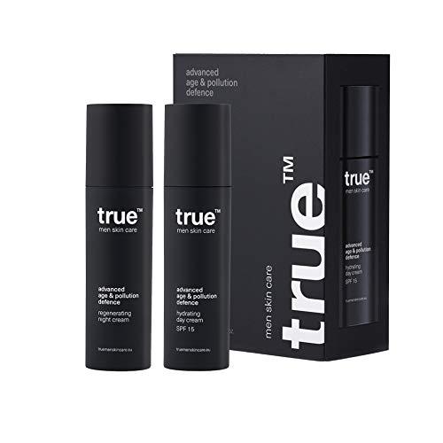 Gesichtscreme Männer true day & night Anti Aging Feuchtigkeitsspendende Tagescreme 50ml + Regenerations - Nachtcreme 50 ml - 100% Vegan und TÜV Zertifiziert