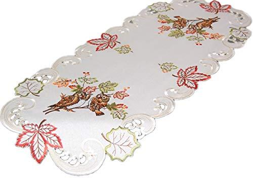 Markenlos Espamira Tischdecke 40 x 90 cm oval Creme Eule Kauz Blätter bunt gestickt Herbst Eulendecke (Tischläufer 40x90 cm)