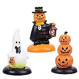 WINOMO 3pcs Halloween Pumpkin Ghost Miniature Landscape Resin Pumpkin Desktop Decor for Halloween Scene Decoration