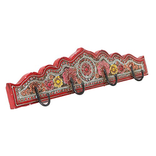 | Ganchos para abrigos orientales Fars C barandilla pintada a mano con 4 ganchos 50,5 x 6 x12 cm A x P x A de madera maciza | perchero de pared en hermosos diseños florales | MA16 44 C