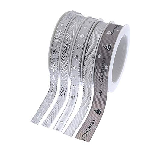 27.5 Yards Christmas Ribbon Wired Edge, Silver Glitter Shristmas Ribbons for Ggifts for Christmas Tree for Crafts, Christmas Wrapping Ribbon by The Roll 0.4-0.6 inch Wide