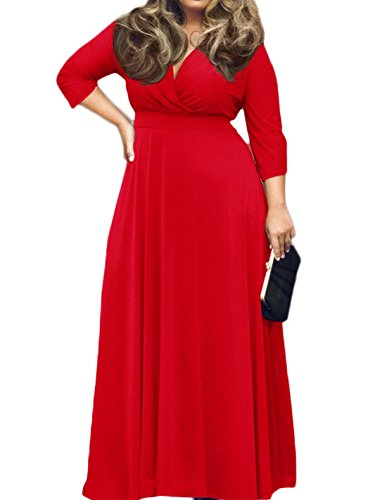 POSESHE Women's Solid V-Neck 3/4 Sleeve Plus Size Evening Party Maxi Dress Red 4X-Large