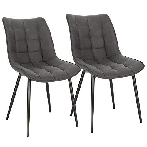 WOLTU Pack de 2 Sillas de Comedor Asiento de Tela Dining Chairs Silla Diseño Silla Tapizada Estructura Metálica Sillón con Respaldo Sillas de Cocina Gris Oscuro BH247dgr-2