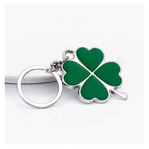 Tderloi Schlüsselbund Edelstahl hohe qualität grüne Blatt Keychain Mode kreative schöne Vier Blatt klee Stahl Lucky schlüsselanhänger schmuck (Color : Green)