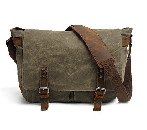 Men's Waxed Canvas Messenger Bag Shoulder Crossbody Laptop School Bag Satchel HuaChen (M49_Army Green)
