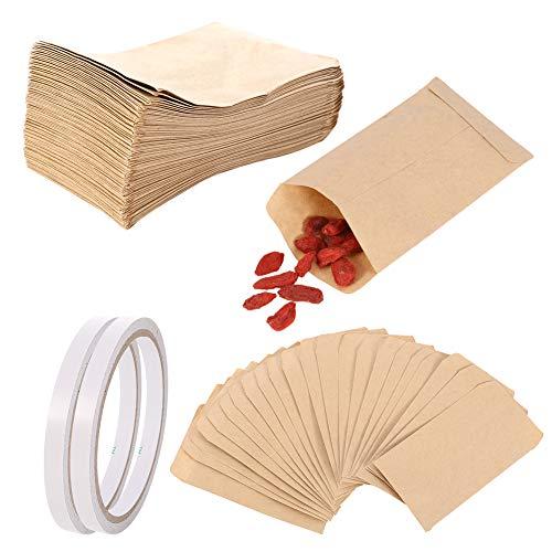 upain 100pcs Papiertüten Klein Kraftpapiertüten Mini Braun Papier Samenpaketen Geschenktüten Kraft Umschlag mit Doppelseitenband für Süßigkeiten Samen Hochzeit Geschenke Party Weihnachtskarte 11,5x6cm