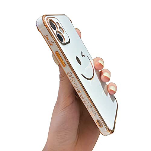 Facweek Compatible with iPhone 12 Case Cute, Luxury Electroplated Edge Bumper Case with Smile Word Smiley Emojis, Full Camera Protection & Reinforced Corners Silicone Rubber Cover Case 6.1 Inch, White