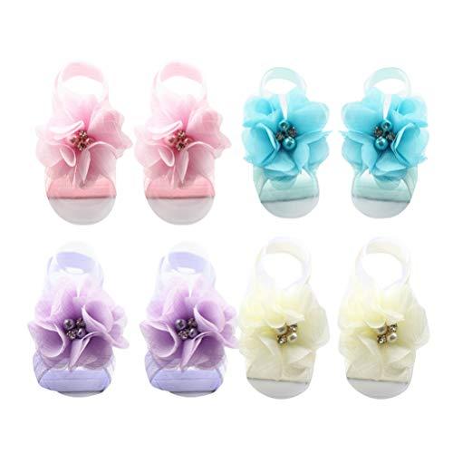 TOYANDONA 4 pares de sandalias descalzas para bebé de gasa con flores, color, talla Small