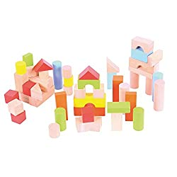 Different sized and coloured wooden bricks supplied in a brightly coloured box with knotted rope carrying handle. Ideal for building & introducing early math concepts. The blocks solid wood, light in weight & perfectly sized for little hands. The bri...