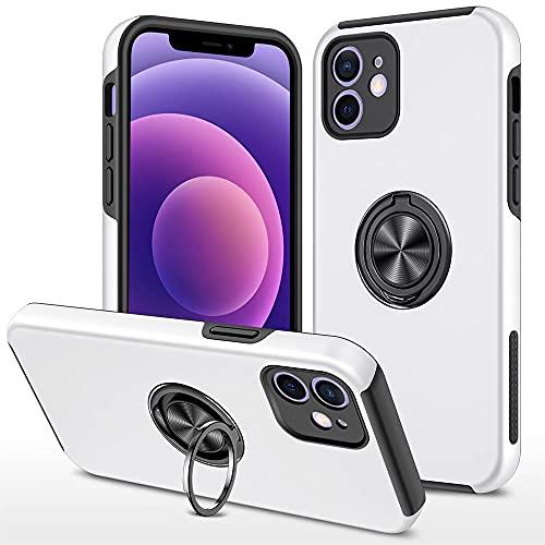 Anceky Funda para iPhone 8 Plus/7 Plus con anillo de soporte y protección de la cámara, suave TPU + silicona dura, resistente a los golpes, carcasa para iPhone 8 Plus/7 Plus