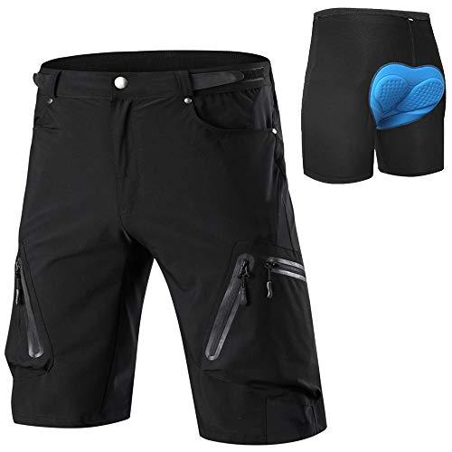 Cycorld MTB Hose Herren Radhose, Schnelltrocknend Mountainbike Hose Fahrradhose mit 4D Sitzpolster, Elastische Outdoor Sport Herren Radlerhose MTB Bike Shorts (Schwarz mit Unterwäsch, L)