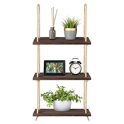UNHO Hanging Wall Shelf Rope: Wood Hanging Shelf 3 Tier Rope Shelf Window Plant Shelf Floating Wall Shelves for Living Room Bedroom Bathroom Rustic Home Wall Decoration