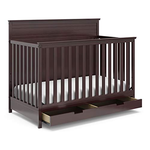 StorkCraft Homestead 4-in-1 Convertible Crib with Drawer - Full-Size Storage Drawer, Crib Easily Converts to Daybed, Toddler Bed, Full-Size Bed with Headboard & Footboard, Espresso