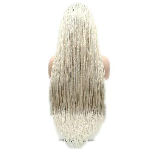 24 inches 60# Gevlochten Kant Voor Pruiken Platina Blonde Synthetische Hittebestendige Fiber Braids Pruiken voor Vrouwen Drag Queen Pruiken Cosplay Party Gebruik