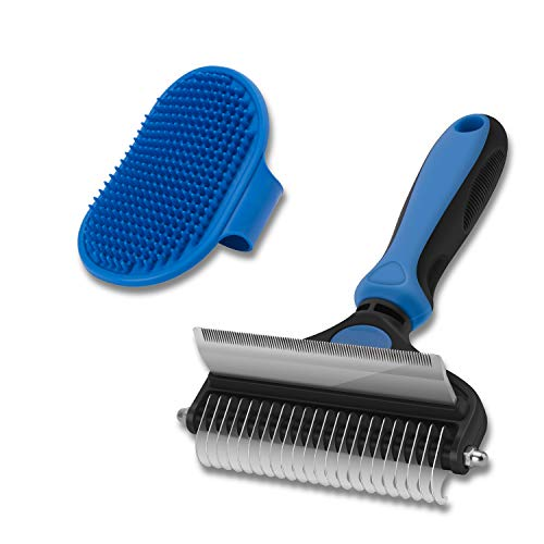 CGBE Dog Brush and Cat Brush, 2 in 1 Pet Undercoat Rake Grooming Tool for Deshedding, Mats & Tangles Removing, Shedding Brush and Dematting Comb for Large Dogs & Cats' Long & Short Hair Remover(Large)