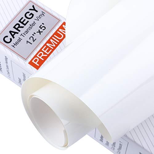 CAREGY Iron on Heat Transfer Vinyl Roll HTV (12x5,White)