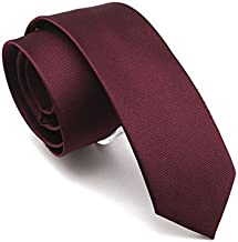 Solid Red Wine Color Slim Ties Pure Color Necktie Mens Ties 2.4'' (6cm)+ Gift Box