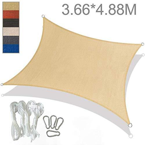 YLEI Toldo Vela de Sombra Rectangular, Resistente a la Intemperie Protección Solar y Transpirable, 94% BloqueUV, para Patio Exteriores Jardín,Beige,5 * 5m